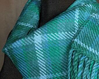 Handwoven merino wool winter scarf / plaid scarf