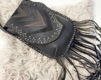 Grey Studded & Fringed Crossbody Bag