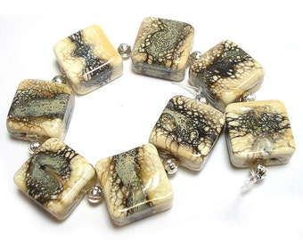 Silvered Ivory Tiles, SRA Handmade Glass Lampwork Beads