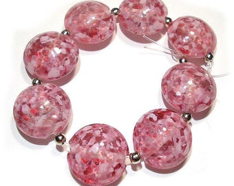 Small Pinks Lentils, SRA Handmade Glass Lampwork Beads