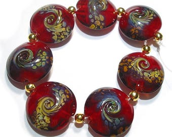 Handmade Glass Lampwork Beads,  Raku Squeezed Lentils
