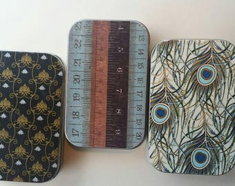 Large tin trio . . .Blues and Gold