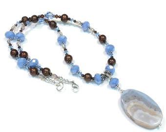 Sky Blue and Brown Beaded Necklace with Agate Pendant  Sterling Silver