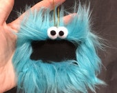 Gift Tag Furry Monster Chalkboard Ornament, reusable place card, teacher gift, teal blue