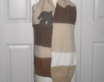 cashmere scarf . Felted Cashmere .  made from recycled Cashmere  Sweaters . sassafras leaf . CREAM AND CARAMEL