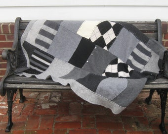 grey cashmere blanket . cashmere quilt . felted cashmere . recovering patient blanket  . made from repurposed cashmere sweaters