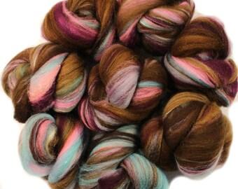 Truffle battlings -- mini batts (2 oz.) organic polwarth wool, bamboo, silk, sparkle.