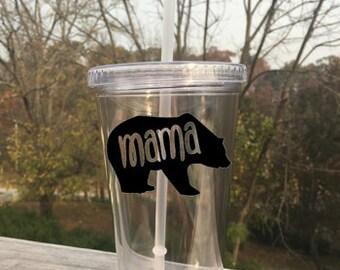 16 oz Double Walled Tumbler With Mama Bear Custom Vinyl Decal