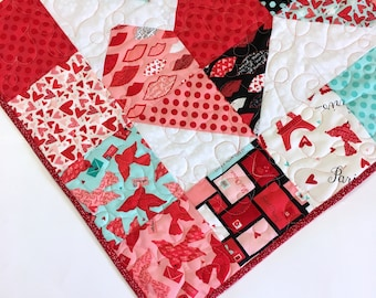 Quilted Wallhanging, Red and Aqua Heart, Valentine Gift,  Charming Hearts, Paris theme table topper or wall hanging, patchwork, home decor