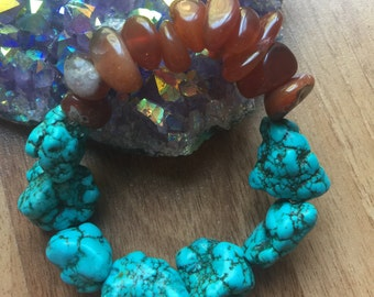 Handmade Turquoise Chunk Bracelet with a Pop of Red Agate