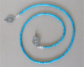 """Nacozari Turquoise Heishi Necklace - Mexican Turquoise 19 1/2"""" Necklace - Tiny 2mm Blue Blue Turquoise Heishi - Fancy Sterling Silver Clasp"""