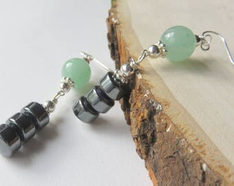 Aventurine Drop Earrings, Green Gemstone Hematite Earrings, Sterling Silver, Hematite Tube Earrings, Mint Green Beads, Unique One of a Kind