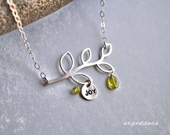 JOY all sterling silver open branch and faceted peridot length and clasp choice necklace by srgoddess