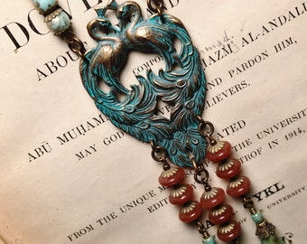 Art Nouveau Inspired Peacock Necklace in Turquoise and Carnelian
