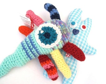 SALE Monster Stuffed Animal - Baby Stuffed Animal - Amigurumi Plush Monster - Handmade Crocheted Toy