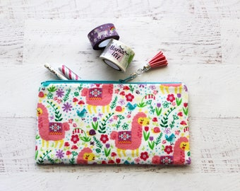 Llama zipper pouch - llama love pencil pouch - llama planner bag - pencil bag - pen pouch - cute llama bag - pink tassel charm - BUJO bag