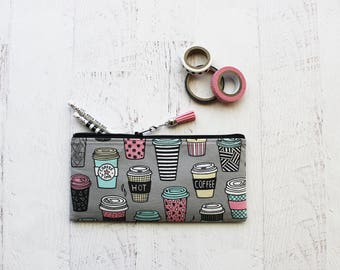 Gray pen pouch - pencil bag - tassel charm - cute pencil pouch - latte eyeglass case - gray planner pouch - pen pouch - coffee addicts gift