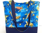 SALE Large handbag, tote bag, navy blue, sea turtles, beach theme, gift for women, deesdeezigns