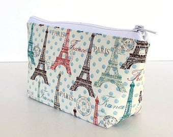 SALE Eiffel Tower  makeup bag, Paris cosmetic bag, Purse organizer, Zipper pouch ,  gift for her, gift for women, gift for girlfriend