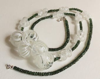 White and Clear Lampwork Teardrop Beads with Green Apatite and Sterling Silver Clasp,, Smokeylady54