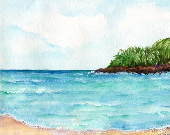 Seascape Aruba watercolors paintings original Beach art, 8 x 10, Malmok Beach, Aruba original watercolor painting, rocky shore