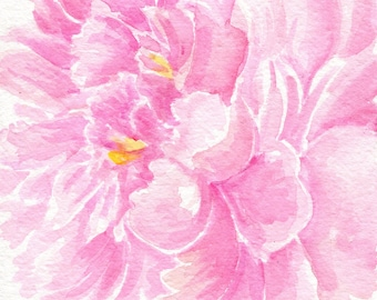 Pink peony watercolor painting original, floral wall art 5 x  7 flower decor, peony decor, watercolor painting pink peony, watercolor flower