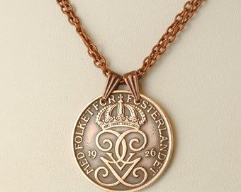 Sweden Coin Necklace 1926 Crowned Monogram