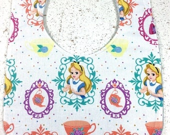Alice in Wonderland Baby Bib - Baby Girl Bib - Handmade Disney - Baby Shower Gift - Teacups