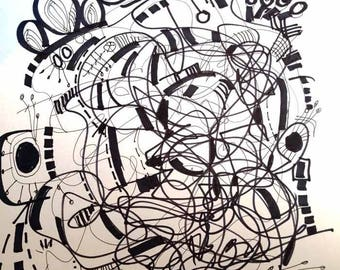 Art Original Black White Drawing, Neural Ghost, Abstract Ink Modern Wall Decor 9x12 - R. Marinho