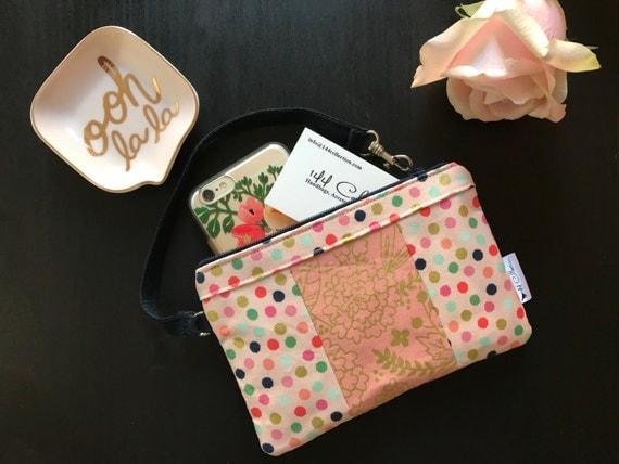 Pink Dots Metallic Wristlet, Small Wallet Wristlet, Women's Wristlet Purse, Cellphone Wristlet, Zipper Wallet