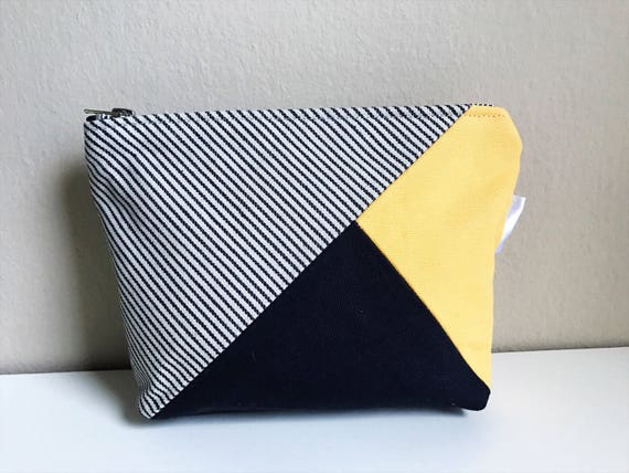 Stripe Canvas Makeup Bag, Zipper Pouch, Small Make up Bag, Travel Toiletry Bag, Canvas Pouch, Blue Canvas Bag