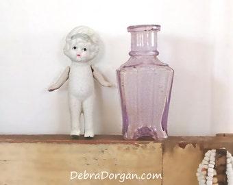Antique Amethyst Vase & Antique Flapper Girl Doll, Antique Japanese, Bud Vase, Vintage Decor, Kitsch, Cottage Chic