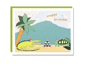 NEW // Snappy Birthday Card // Gator and Turtle Birthday // Map Art Card // Funny Birthday Card // Animal Birthday Card // Kid Birthday