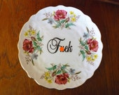 F bomb hand painted vintage  bone china cake plate with hanger recycled humor sweary china MATURE display decor