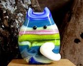 Handmade Lampwork Easter Egg Cat Bead Focal - Orlando FatCat