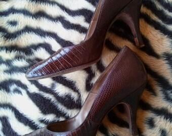 Vintage 1960s Shoes Lizard High Heel 60s Reptile Pumps US6