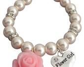 Blumen-Mädchen-Armband, rosa Blume, Blume Mädchen, Geschenk, erröten rosa Perle Hochzeit Armband, Blumenmädchen/Kinder Schmuck, kostenloser Versand In USA