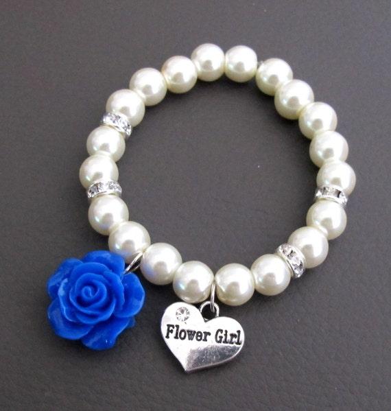 Flower Girl Bracelet,Rose Flower Bracelet,Royal Blue Rose Flower Bracelet,Pearl Bracelet,Girl Jewelry,Child Bracelet,Free Shipping USA