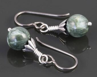 Seraphinite Earrings. Titanium Ear Wires. Genuine Gemstones. s17e069