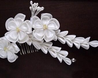 Silk white wedding comb. Hair accessory fascinator. Alternative veil flower Kanzashi. Hidden secrets. Made to Order