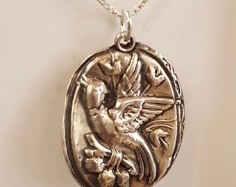 Bird in Flight Pendant .999 fine silver