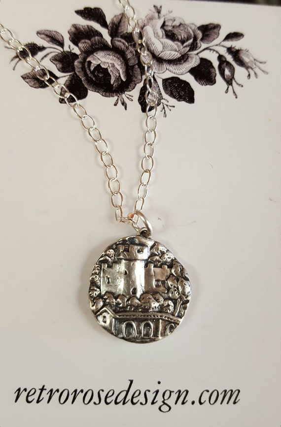 Castle Pendant Necklace sterling silver Renassaince