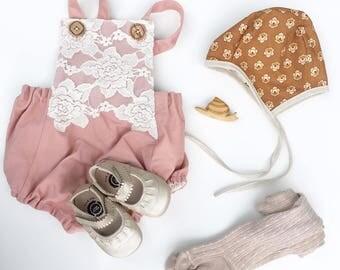 Rust Floral Bonnet, Little Cove Bonnet, Baby Bonnet, Brimless Bonnet, Baby Shower Gift, Rust Lace Bonnet, Floral Bonnet, Flower Bonnet