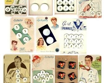 Vintage Button Cards No. 3 - Digital Collage Sheet - Instant Download