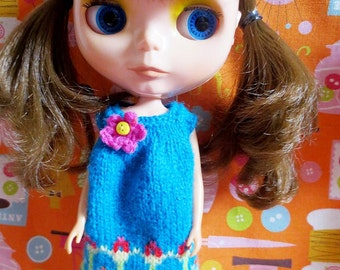 SALE Was 12 Now 8 Blythe Cute Flowery Smock Dress - Turquiose