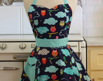Retro Apron Colorful Owls on Navy - BELLA