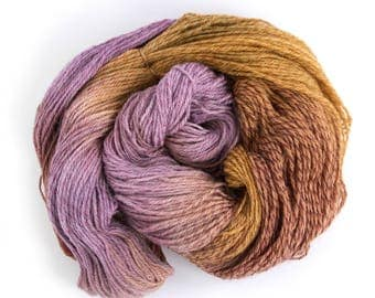 Hand dyed DK merino, light worsted crochet yarn skein, double knitting tweed wool, Perran Yarns, Copper Plum, uk seller, purple brown bronze