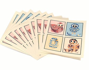 Bulk set of Pysanky Easter Cards - blank inside - 10 square cards with pysanka egg and chicken design. Ukrainian inspired