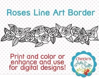 Roses Line Art Border   Roses Clip Art   Digital Borders   Designer Resources   Coloring Pages   Line Art   Digital Illustrations   Clipart