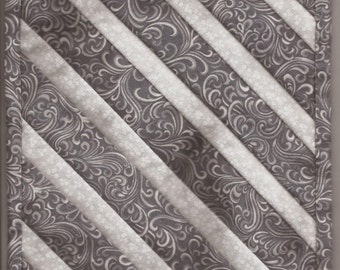 Free US Shipping! Miniature Gray & White Diagonal Stripe #6172 Dollhouse Quilt or Rug Great for OOAK Sculpt Doll